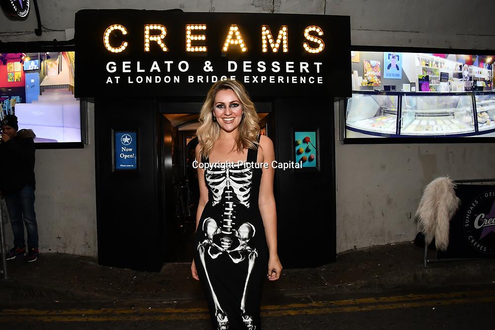 Larissa Eddie BBC Tv judge scares as a sexy skeleton at The London Bridge Experience & London Tombs on 28 October 2018, London, UK.