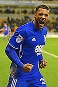 Birmingham City midfielder David Davis (26) celebrates the win with the fans 1-2 during the EFL Sky Bet Championship match between Wolverhampton Wanderers and Birmingham City at Molineux, Wolverhampton, England on 24 February 2017. Photo by Alan Franklin.