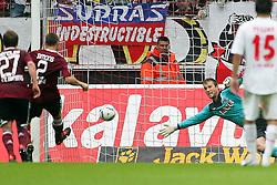 11.09.2011,  Rhein Energie Stadion, Koeln, GER, 1.FBL, 1. FC Koeln vs 1. FC Nürnberg, im Bild.Timmy Simons (Nuernberg #2) (L) trifft zum 0:2 gegen Michael Rensing (Torwart Koeln) ..// during the 1.FBL, 1. FC Koeln vs 1. FC Nürnberg on 2011/09/11, Rhein-Energie Stadion, Köln, Germany. EXPA Pictures © 2011, PhotoCredit: EXPA/ nph/  Mueller *** Local Caption ***       ****** out of GER / CRO  / BEL ******