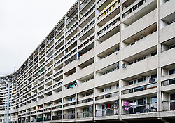 Exterior of Cables Wynd House apartment building , also known as the Banana Flats, in Leith, Edinburgh, Scotland.