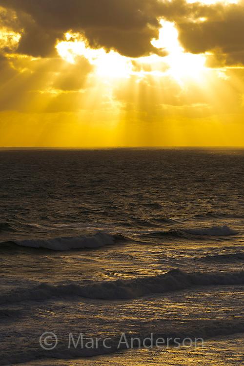 Rough sea at sunset, Great Ocean Road, Victoria, Australia