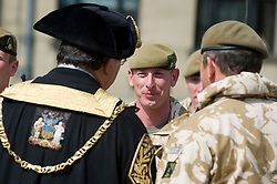 Councillor Alan Law JP, the Lord Mayor of Sheffield inspects SGT CHRIS EDLEY Freedom Parade 3rd Battalion The Yorkshire Regiment Sheffield 23 June 2010 .Images © Paul David Drabble.