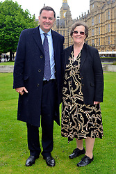© Licensed to London News Pictures. 14/05/2013. Westminster, UK. Mel Stride MP, Margaret Squires. Patients campaigning for a life-saving treatment to be made available for all sufferers of the rare blood disease atypical Haemolytic Uraemic Syndrome (aHUS) present an urgent petition with over 30,000 signatures to MPs at the House of Commons on Tuesday May 14 2013... Photo credit : Stephen Simpson/LNP