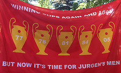 A Liverpool banner on display in Kiev.