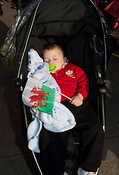 CARDIFF, WALES - Thursday, March 1, 2012: Members of the Football Association of Wales take part in the 10th St. David's Day Parade through the streets of Cardiff. (Pic by David Rawcliffe/Propaganda)