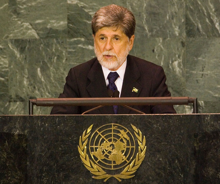 Celso Luiz Nunes Amorim Foreign Minister of Brazil speaks durring the general debate of the 60th session of the General Assembly at UN headquarters in New York City Saturday 17 September 2005.