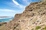Steep coastal cliffs Risco de Famara looking north from Guinate, Lanzarote, Canary Islands, Spain