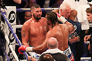 David Haye congratulates Tony Bellew after his victory at the O2 Arena, London, United Kingdom on 5 May 2018. Picture by Phil Duncan.