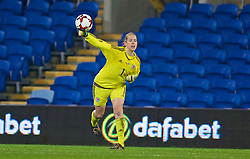 CARDIFF, WALES - Friday, November 24, 2017: Wales' goalkeeper Laura O'Sullivan during the FIFA Women's World Cup 2019 Qualifying Round Group 1 match between Wales and Kazakhstan at the Cardiff City Stadium. (Pic by David Rawcliffe/Propaganda)