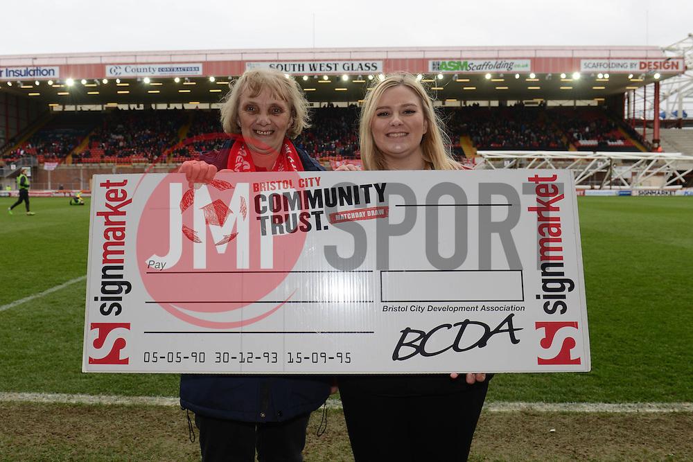 Bristol City Community Trust half time draw - Photo mandatory by-line: Dougie Allward/JMP - Mobile: 07966 386802 - 28/03/2015 - SPORT - Football - Bristol - Ashton Gate - Bristol City v Barnsley - Sky Bet League One