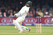Azhar Ali of Pakistan takes evasive action on DAy Two of the NatWest Test Match match at Lord's, London<br /> Picture by Simon Dael/Focus Images Ltd 07866 555979<br /> 25/05/2018