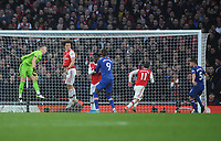 Football - 2019 / 2020 Premier League - Arsenal vs. Chelsea<br /> <br /> Bernd Leno of Arsenal punches thin air which gave Jorginho (5) the easiest equalising goal, at The Emirates.<br /> <br /> COLORSPORT/ANDREW COWIE