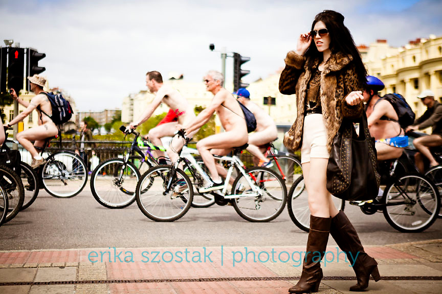 Overdressed at the Brighton Naked Bike Ride 2013<br />