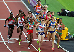 London, 2017-August-04. Great Britain's Laura Muir and Jennifer Simpson of the USA lead the pack in the Women's 1,500m first round heat at the IAAF World Championships London 2017. Paul Davey.