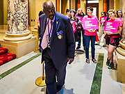 04 MAY 2017 - ST. PAUL, MN: A member of the Minnesota State Capitol security team sets out tensioner line barricades before a Planned Parenthood protest at the Capitol. About 50 people came to a protest to urge Minnesota State Senators to vote against two bills supported by the Republican party that would restrict access to women's health care in Minnesota. The protest was organized by  NARAL Pro-Choice Minnesota, NCJW Minnesota, and Planned Parenthood Minnesota. The Senate passed the bills but Minnesota's Democratic governor is expected to veto the legislation when it reaches his desk.     PHOTO BY JACK KURTZ