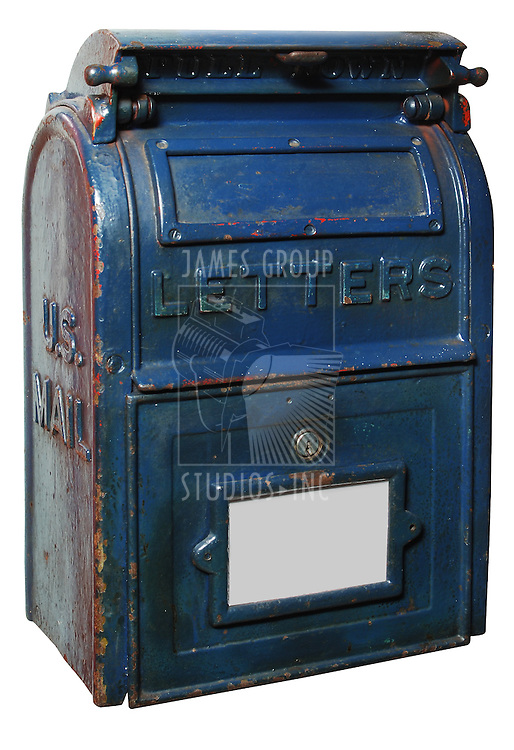 vintage US mailbox painted blue with chipped and peeling paint, isolated on white background