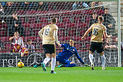 Sam Cosgrove (#16) of Aberdeen FC scores his second goal from a penalty during the Betfred Scottish Football League Cup quarter final match between Heart of Midlothian FC and Aberdeen FC at Tynecastle Stadium, Edinburgh, Scotland on 25 September 2019.