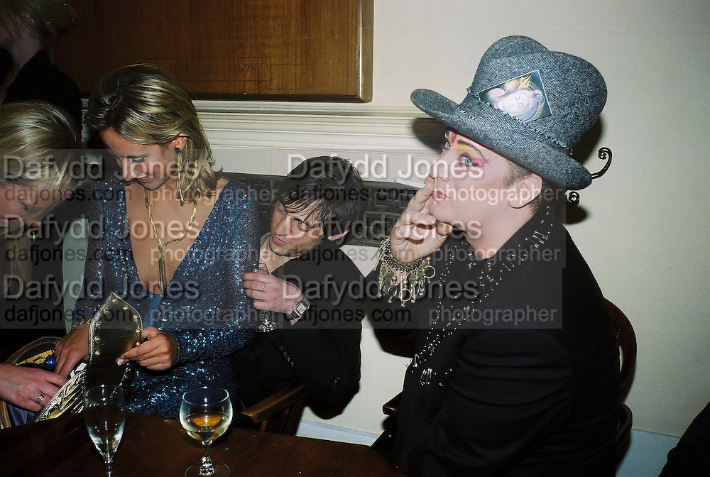 Lady Victoria Hervey and Boy George. Wong party. Old  Royal Naval College, Greenwich. 3/2/01. © Copyright Photograph by Dafydd Jones 66 Stockwell Park Rd. London SW9 0DA Tel 020 7733 0108 www.dafjones.com