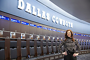 Charlotte Jones Anderson poses for a photo in the locker room at the the Star, the new headquarters for the Dallas Cowboys, in Frisco, Texas on November 30, 2017. (Cooper Neill for The New York Times)