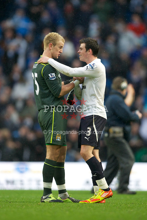 MANCHESTER, ENGLAND - Sunday, January 22, 2011: Manchester City's goalkeeper Joe Hart jokes with Tottenham Hotspur's Gareth Bale after his side's 3-2 victory during the Premiership match at the City of Manchester Stadium. (Pic by David Rawcliffe/Propaganda)
