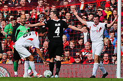 Kevin Nolan appeals to the referee after a foul is given in favour of Jamie Carragher - Photo mandatory by-line: Matt McNulty/JMP - Mobile: 07966 386802 - 29/03/2015 - SPORT - Football - Liverpool - Anfield Stadium - Gerrard's Squad v Carragher's Squad - Liverpool FC All stars Game