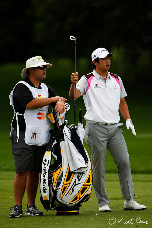 JOHN HUH prepares for his second shot out of the fairway on the first hole during the final round of the Arnold Palmer Invitational at the Bay Hill Club and Lodge.