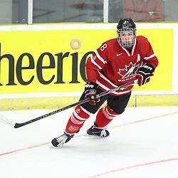 COBOURG, - Dec 13, 2015 -  Game #1 - Czech Republic vs Canada West at the 2015 World Junior A Challenge at the Cobourg Community Centre, ON. Dante Fabbro #8 of Team Canada West follows the play during the first period.(Photo: Tim Bates / OJHL Images)