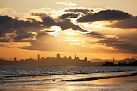 Crown Memorial Beach Sunset With Downtown San Francisco Skyline in Background, Alameda, California