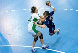 Alja Jankovic of Slovenia vs Yulya Bulova of Belarus at Women European Championships Qualifying handball match between National Teams of Slovenia and Belarus, on October 17, 2009, in Kodeljevo, Ljubljana.  (Photo by Vid Ponikvar / Sportida)