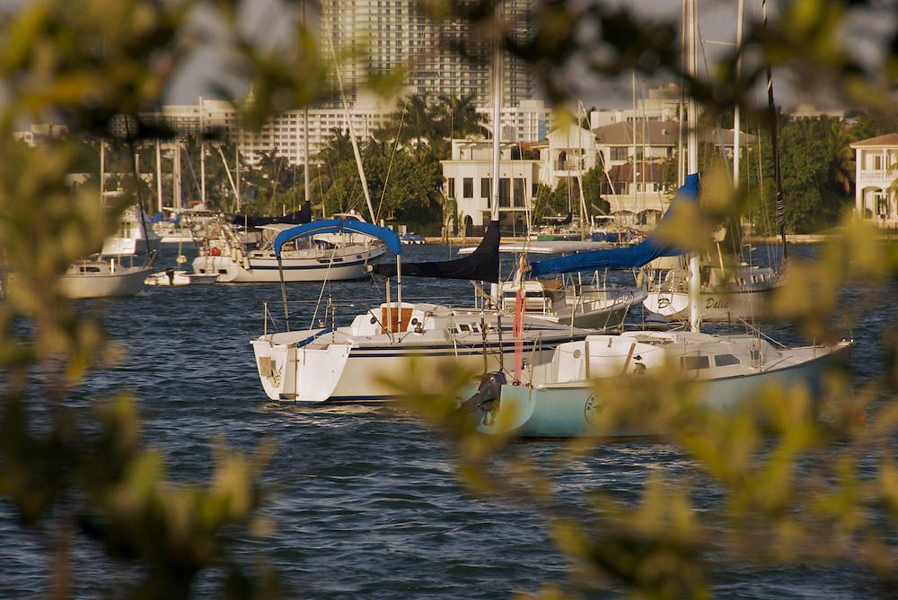 Boats in Biscayne Bay, Miami, FL USA
