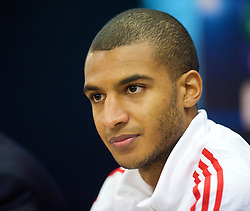 LIVERPOOL, ENGLAND - Tuesday, December 8, 2009: Liverpool's David Ngog during a press conference at Anfield ahead of the UEFA Champions League Group E match against AFC Fiorentina. (Pic by David Rawcliffe/Propaganda)