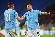 Sergej Milinkovic Savic of Lazio celebrates with Francesco Acerbi after scoring during the Italian championship Serie A football match between SS Lazio and US Lecce Sunday, Nov. 10, 2019 at the Stadio Olimpico in Rome. SS Lazio defeated US Lecce 4-2. (Federico Proietti/Image of Sport)