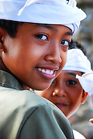 Boys at a Puri Agung ceremony in Bali, Indonesia.