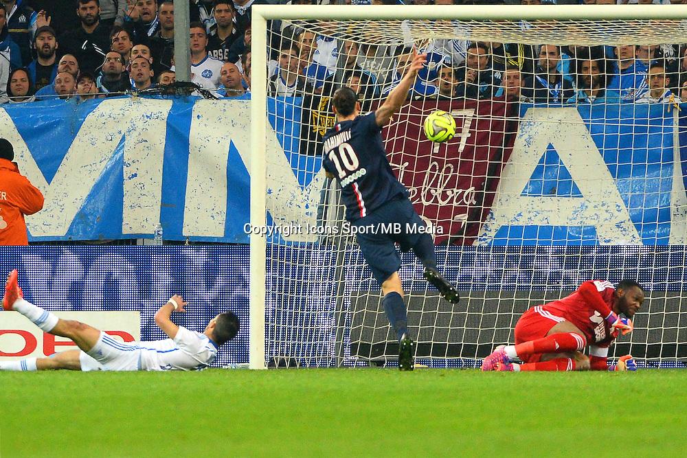 But Jeremy MOREL csc / Zlatan IBRAHIMOVIC - 05.04.2015 - Marseille / Paris Saint Germain - 31eme journee de Ligue 1<br />Photo : Gaston Petrelli / Icon Sport