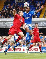 Photo: Ashley Pickering.<br /> Ipswich Town v Cardiff City. Coca Cola Championship. 06/05/2007.<br /> Fabian Wilnis of Ipswich (R) wins a header from Warren Feeney of Cardiff