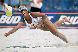 FIVB Professional Volleyball - Hermosa Beach, CA - 1995 - Jackie Silva (Brazil) - Photo by Wally Nell/Volleyball Magazine