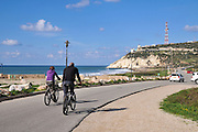 Nahariya the northernmost coastal city in Israel, Established 1935. Rosh Hanikra in the background