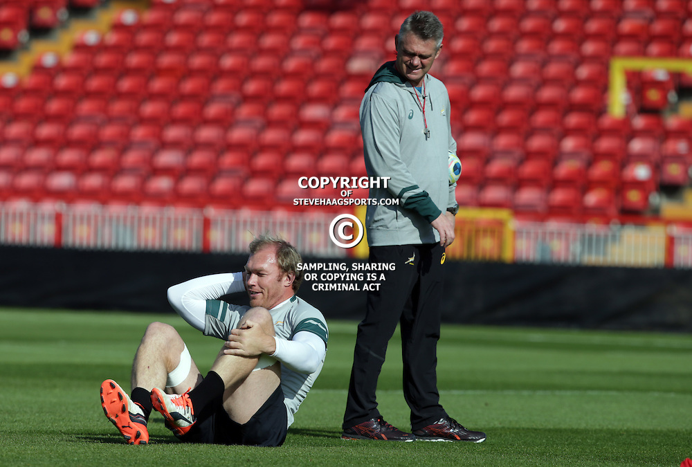 GATESHEAD, ENGLAND - SEPTEMBER 30: Schalk Burger with Heyneke Meyer (Head Coach) of South Africa during the South African national rugby training session at Gateshead International Stadium on September 30, 2015 in Gateshead, England. (Photo by Steve Haag/Gallo Images)