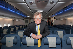 © London News Pictures. 04/07/2013 . London, UK.  Sir Martin Broughton, Chairman of British Airways on board  the new British Airways AIRBUS A380 superjumbo which arrived at Heathrow Airport on July 4, 2013. It was the first time British Airlines have taken delivery of the new plane, making British Airways the first European airline to operate both the 787 and A380. Photo credit : Ben Cawthra/
