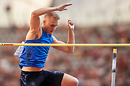 Poland, Warsaw - 2017 August 15: Robert Sobera (AZS AWF Wroclaw) of Poland competes in men's pole vault during Memorial of Kamila Skolimowska at Stadion PGE Narodowy on August 15, 2017 in Warsaw, Poland.<br /> <br /> Mandatory credit:<br /> Photo by © Adam Nurkiewicz<br /> <br /> Adam Nurkiewicz declares that he has no rights to the image of people at the photographs of his authorship.<br /> <br /> Picture also available in RAW (NEF) or TIFF format on special request.<br /> <br /> Any editorial, commercial or promotional use requires written permission from the author of image.