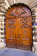 Wood door in old town Vieux Lyon, France (UNESCO World Heritage Site)