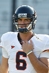 November 20, 2010; Chestnut Hill, MA, USA;  Virginia Cavaliers quarterback Marc Verica (6) warms up before the game against the Boston College Eagles at Alumni Stadium.  Boston College defeated Virginia 17-13.