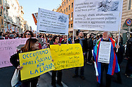 "Twenty thousand people take part in a march 'Roma non si Vende' (Rome is not for Sale) organised by precarious, movements for home, teachers of municipal schools, social cooperatives and neighborhood committees against ""privatization, selling off of public assets, cutting social services, evictions and evictions. Rome, Italy.19th  March 2016"