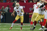 20 January 2013: Quarterback (7) Colin Kaepernick of the San Francisco 49ers runs the ball against the Atlanta Falcons during the first half of the 49ers 28-24 victory over the Falcons in the NFC Championship Game at the Georgia Dome in Atlanta, GA.