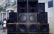 Sound system speakers in the street Notting Hill Carnival London 2003