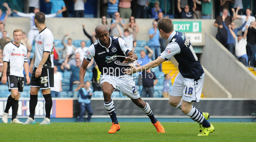 Jimmy Abdou starts his celebrations during the Sky Bet League 1 match between Millwall and Rochdale at The Den, London, England on 26 September 2015. Photo by Michael Hulf.