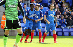 Leonardo Da Silva Lopes of Peterborough United (left) is congratulated by team-mate Gwion Edwards after scoring the opening goal of the game - Mandatory by-line: Joe Dent/JMP - 05/08/2017 - FOOTBALL - ABAX Stadium - Peterborough, England - Peterborough United v Plymouth Argyle - Sky Bet League One