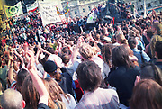 Crowd of protesters, First Criminal Justice March. Trafalgar Square, London,UK.1st of May 1994.