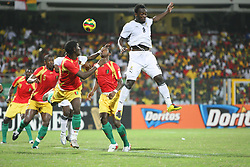 Ghana's Asamoah Gyan scores the first goal during the African Cup of Nations soccer match, Ghana vs Guinea in Accra, Ghana on January 20, 2008. Ghana defeated Guinea 2-1. Photo by Steeve McMay/Cameleon/ABACAPRESS.COM  | 142610_17