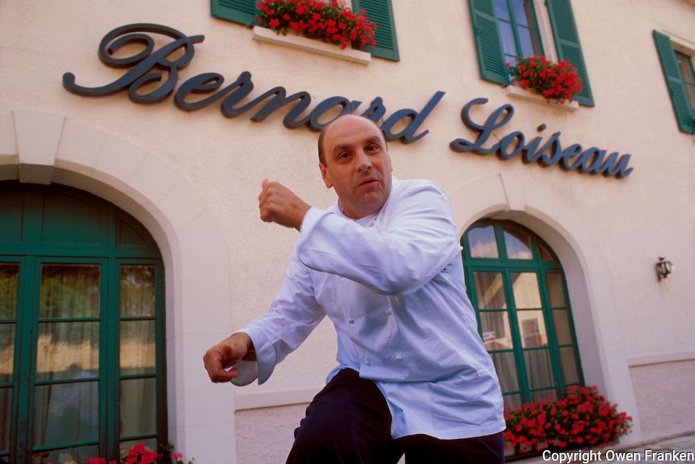 Bernard Loiseau outside his Hotel-Restaurant Cote d'Or, Saulieu, Burgundy, 2000.? Owen Franken